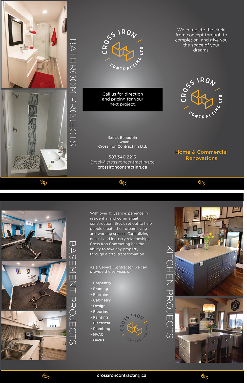 Cross Iron Contracting brochure.