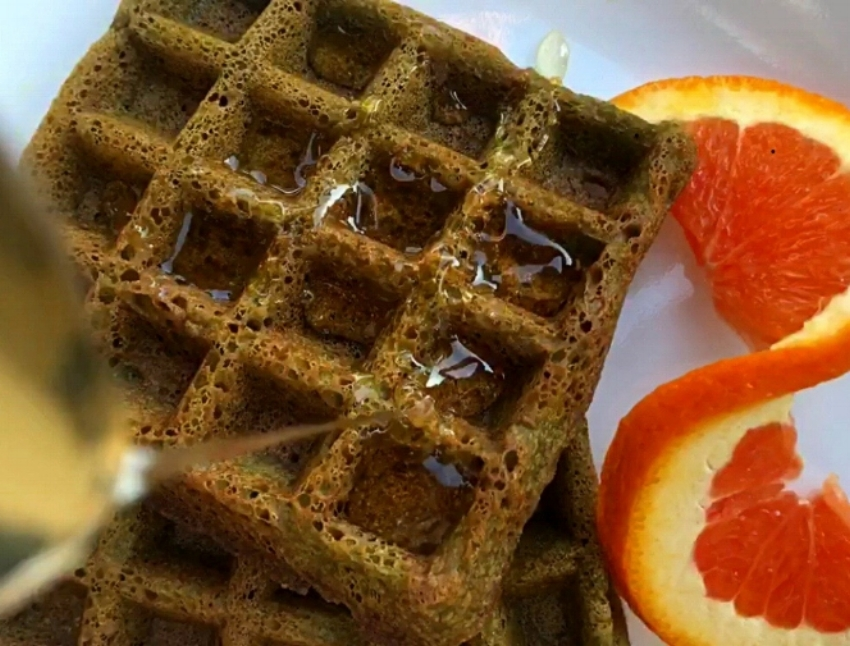 Matcha Orange Waffles Recipe using Herbal Blend by Wild Sun Wellness