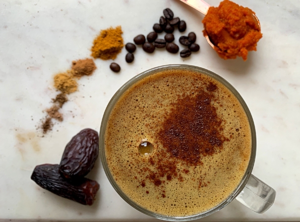 Pumpkin Spice Latte Recipe using Stay Golden by Wild Sun Wellness, a Tumeric Golden Milk Adaptogenic Herbal Blend