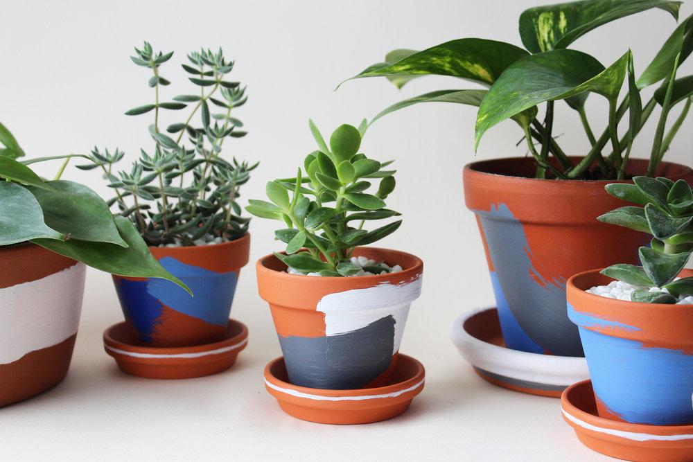 Pots de terracotta peint à la main
