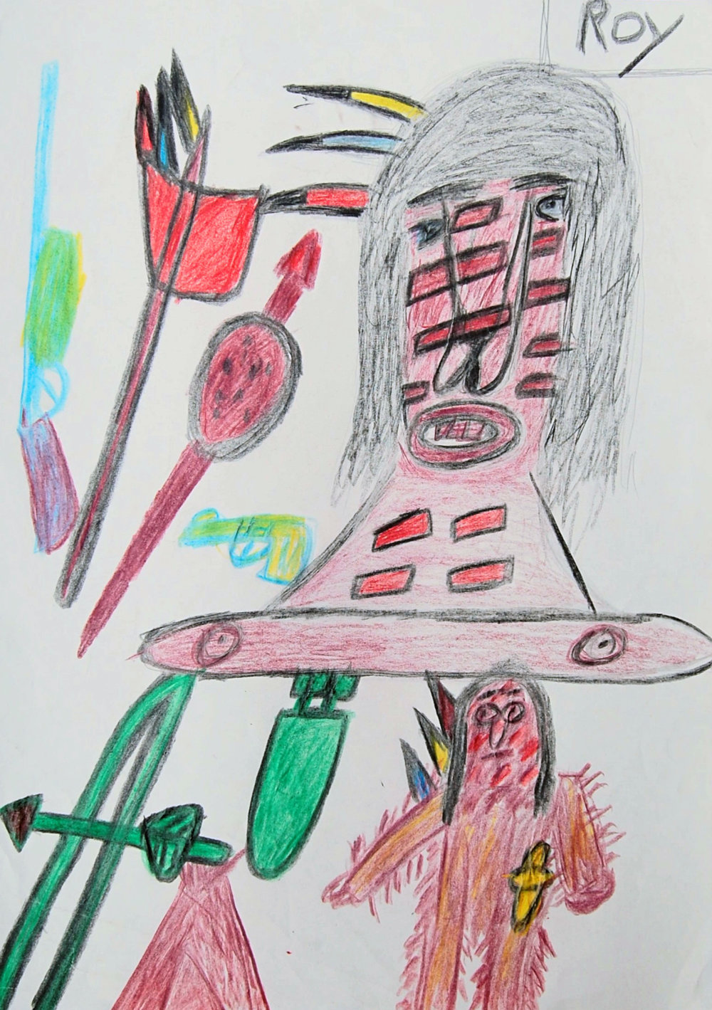 Untitled (Red Indians) Pencil crayon on paper 42x59cm