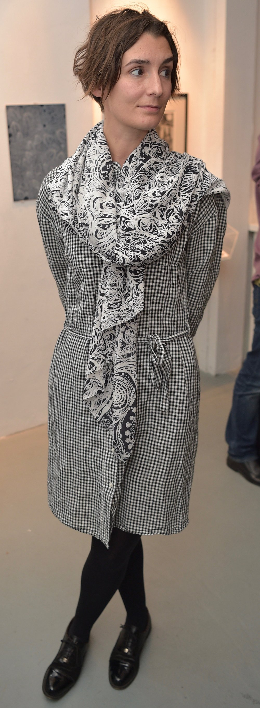 Fiona Gabanski Sykes modelling Chris Neate's scarf