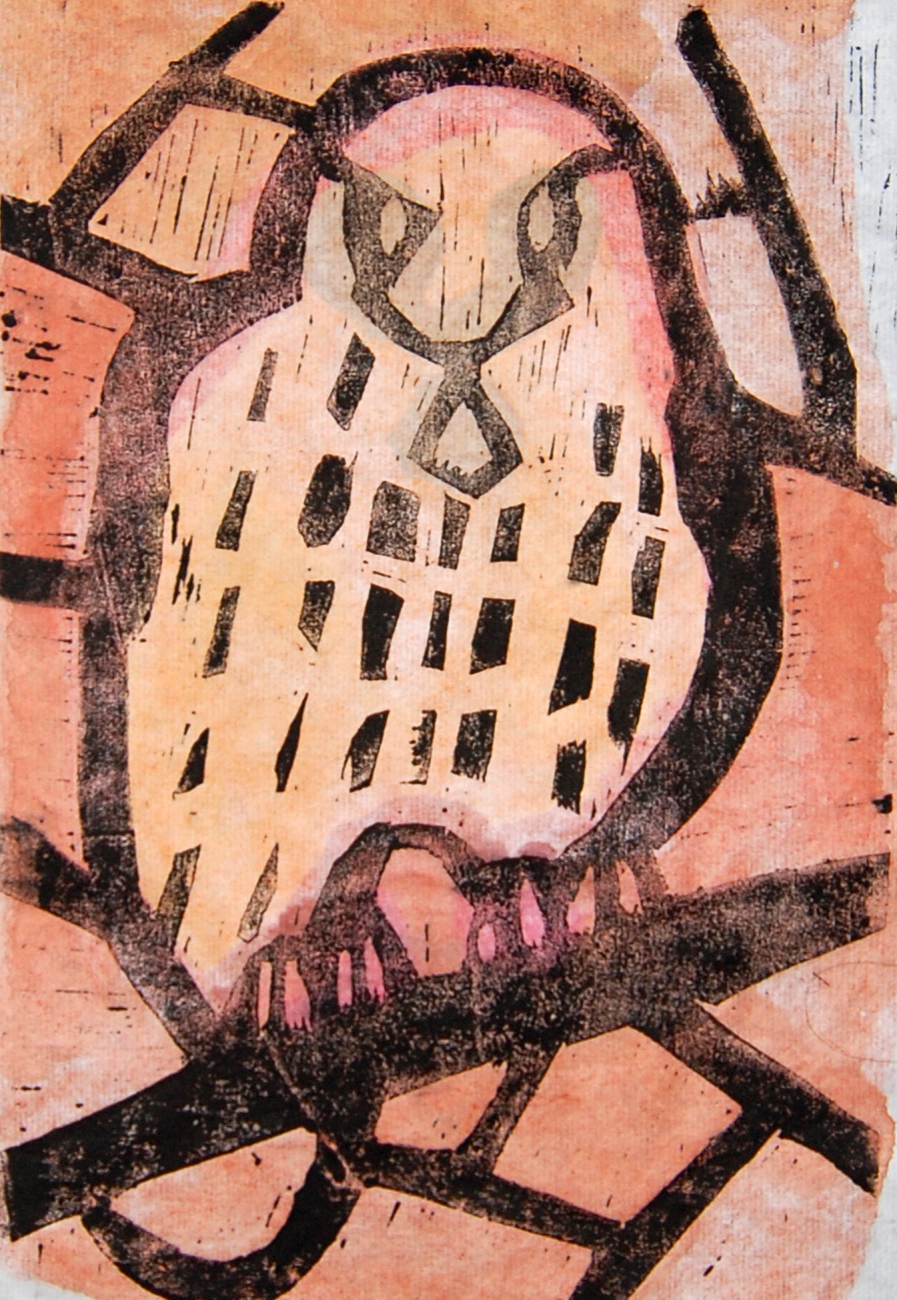 Untitled (53) - Owl Woodcut with hand colouring 16x25cm