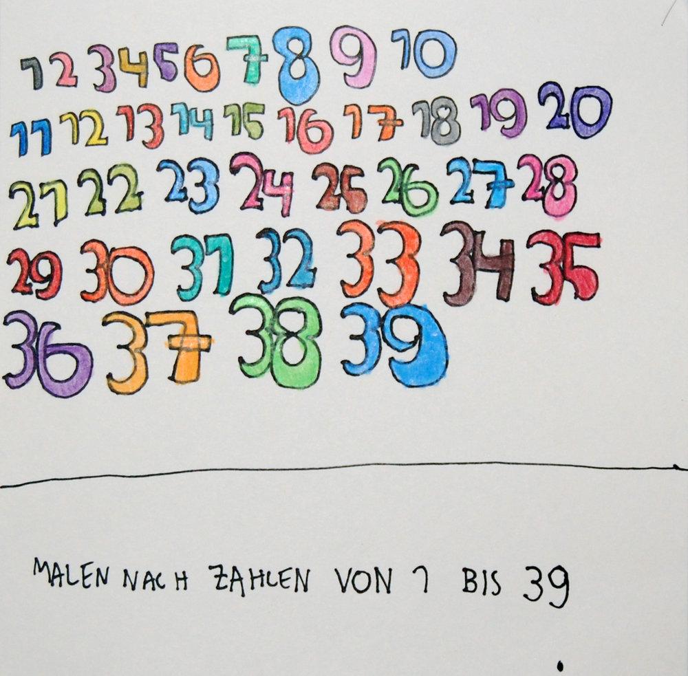 Malen Nach Zahlen Von 1 Bis 39 Felt tip pen and pencil crayons on paper 20x20cm