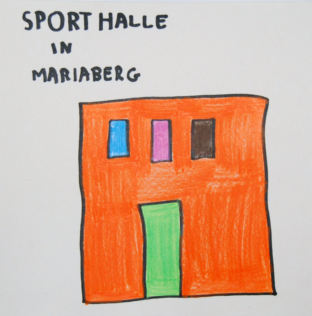 Sporthalle in Mariaberg, 2016 Felt tip pen and coloured pencils on paper 20x20cm
