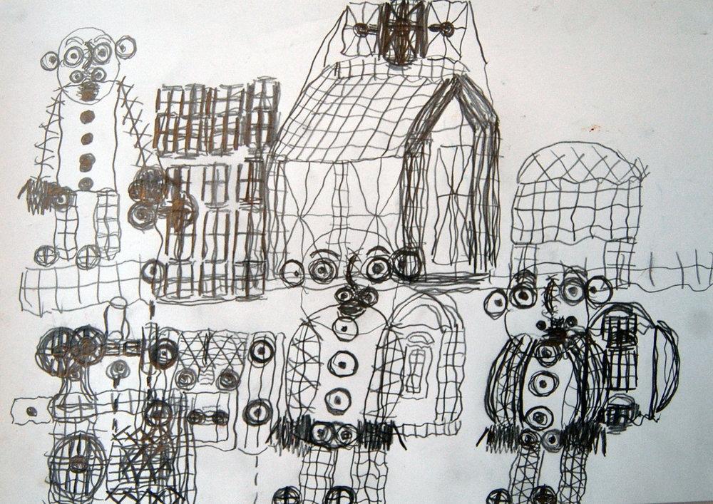 mit Nahmaschine, Menschen, Haus, 2005 Pencil on paper 42x30cm