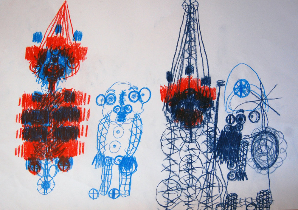 mit Weihnachtsbaum, 2004-2006 Pencils on paper 60x42cm