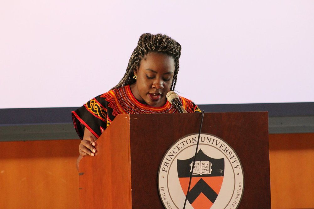 Wilglory speaks to conference attendees at Okwele, a Cameroonian student conference she planned and spearheaded with a board of other Cameroonians.