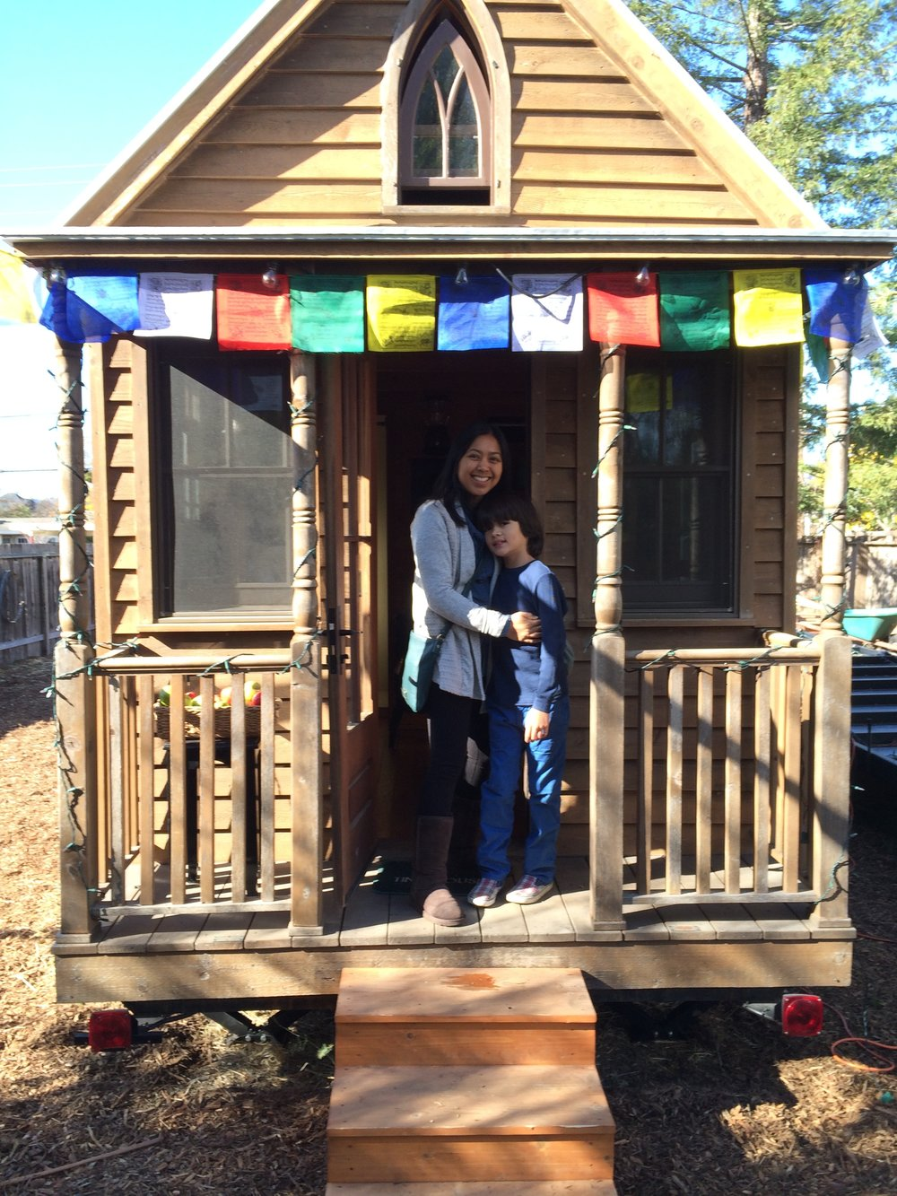 Visiting the first tiny house built in the United States, which is sitting in a backyard in Sonoma, California.