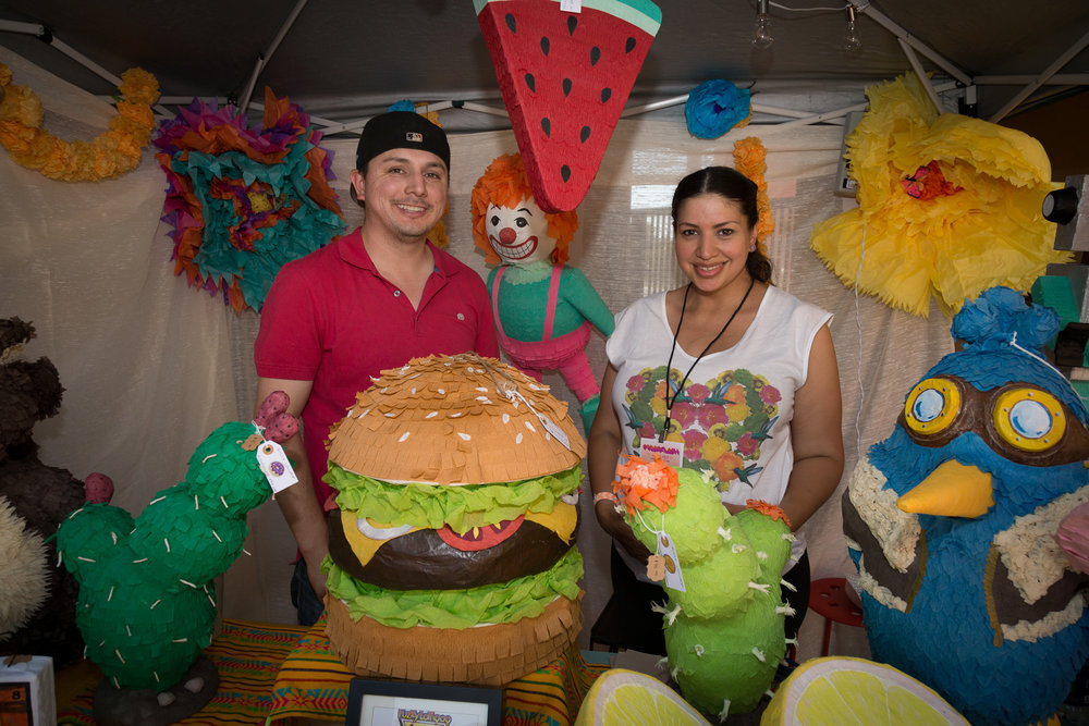 Artisan Patty Botello sells her piñatas as well as leads piñata making workshops for the community to have a hand in the creation of the festival space. Photo by Paolo Riveros.