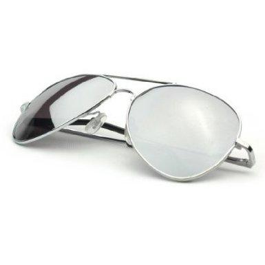 Aviator Sunglasses Silver Frame Mirror Lens 0.jpg