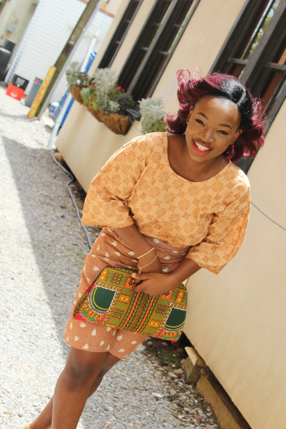 ankara print iro and buba with dashiki purse