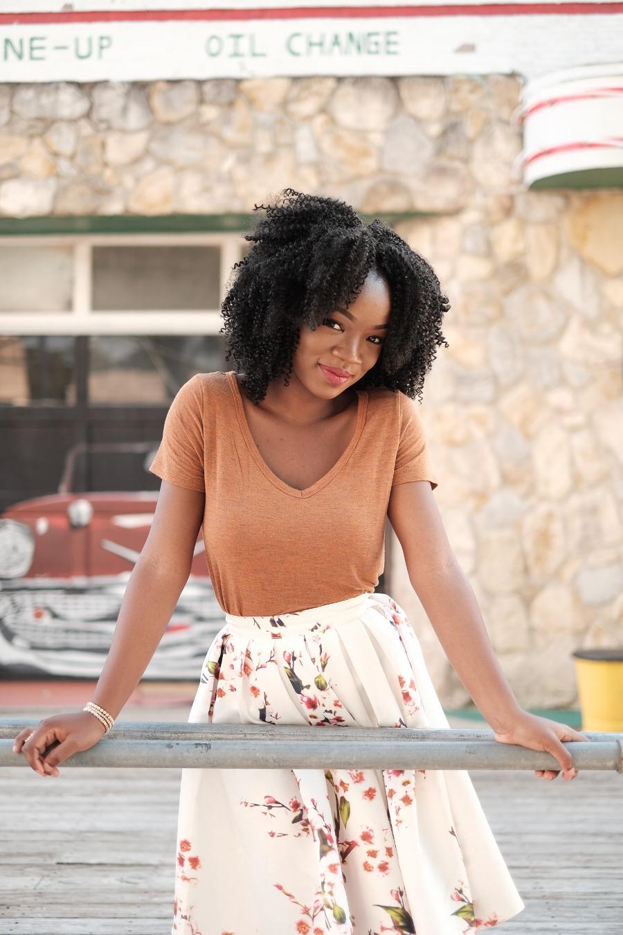 Black girl-Birthday june-floral skirt-smile