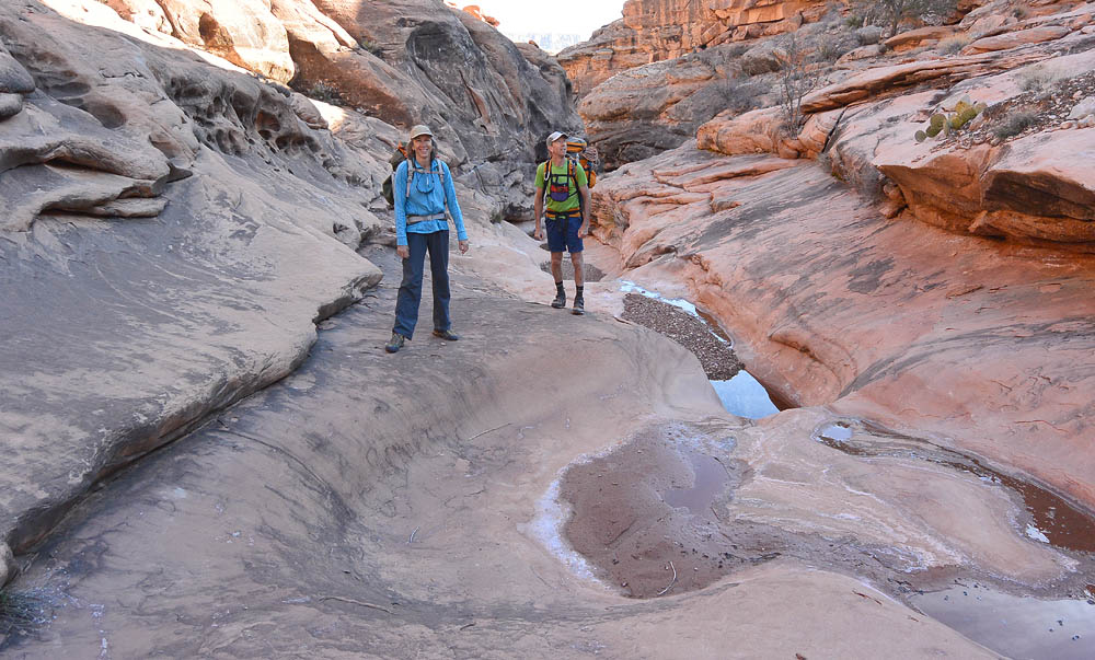 Chris and Christine in the upper reaches of Flipoff Canyon