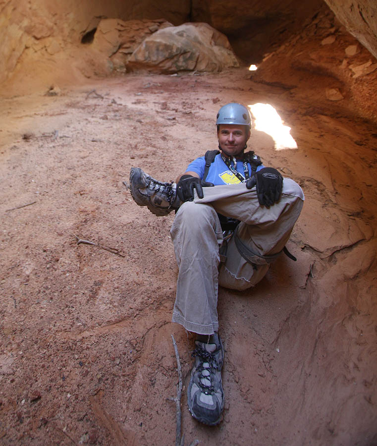 Ryan getting a little relaxation in the cool of the alcove. (Cassidy Arch)
