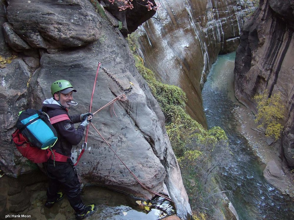 Cabot setting up the last rappel. (Mystery Canyon)