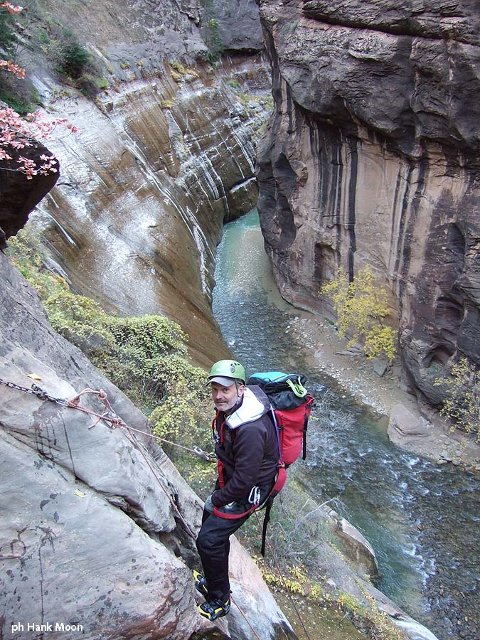 Then quickly, Cabot on rappel, into the Narrows. (Mystery Canyon)