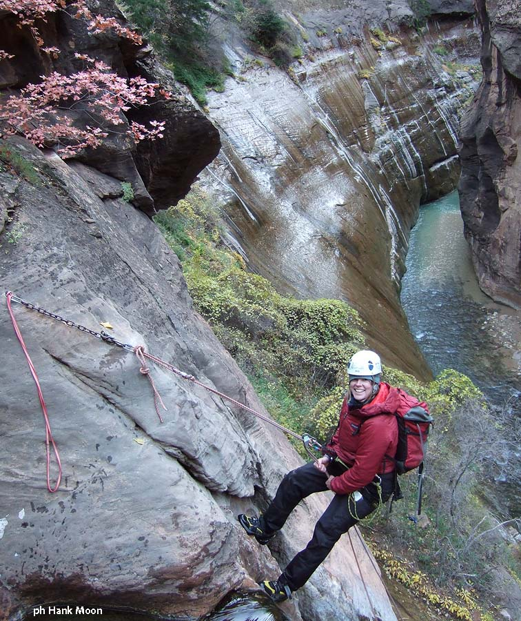 And finally, Nan on rope - does she look cold?? (Mystery Canyon)