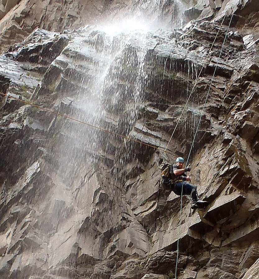 Normal guided rappel at the same point