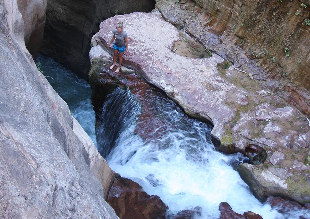 Amanda down at Labyrinth Falls - 200 feet tall?