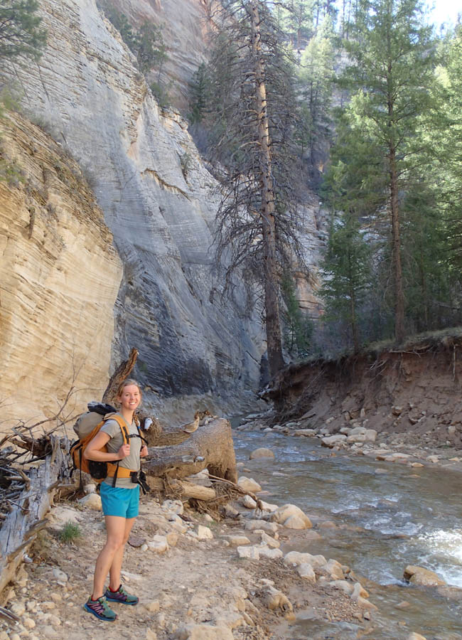 hiking down the Narrows