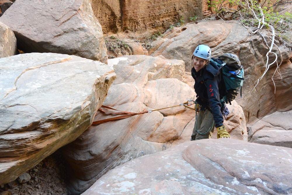 Shelley rapping in Lodge Canyon, repositioned anchor