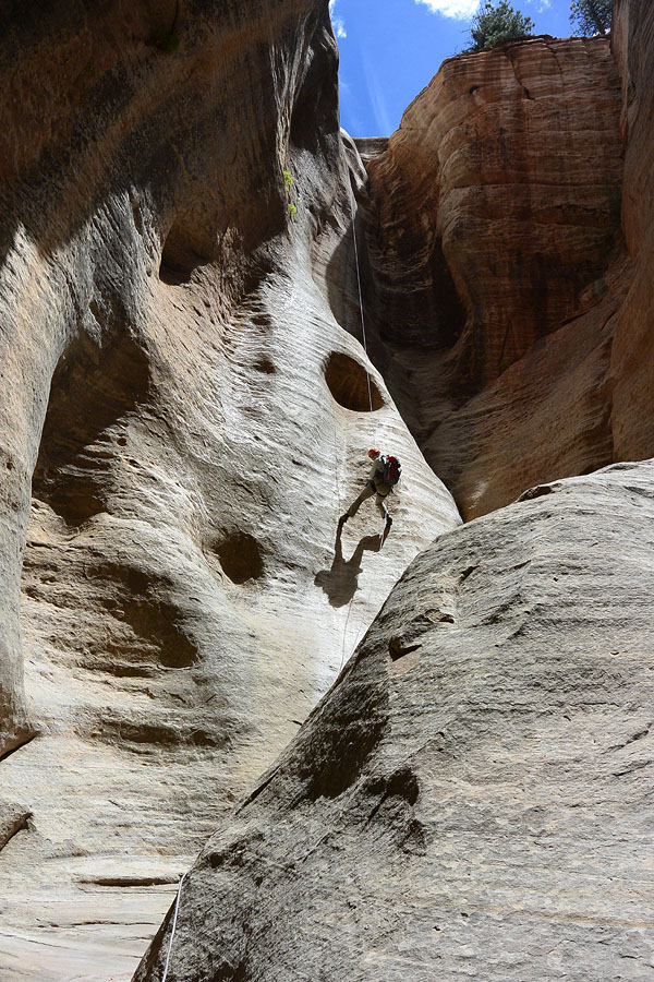 Anna on the first rappel, 155 feet