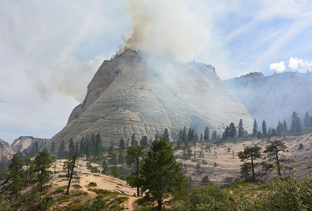 Fire atop Cathedral Mountain - gave us smoke the whole day