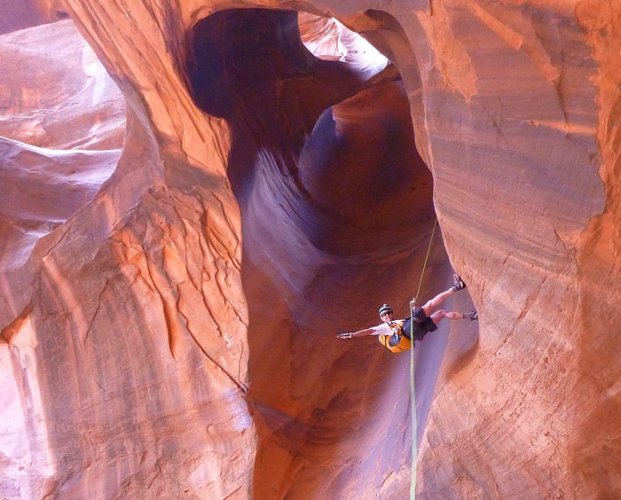 Dropping in. Neon Canyon.
