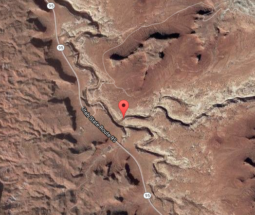 Getting there - The Cheesebox Road (San Juan County Road 227a) is found off Highway 95, at milepost 66.8, 5.1 miles west of the Frye Canyon Inn. When heading east, it is 2.8 miles east of the