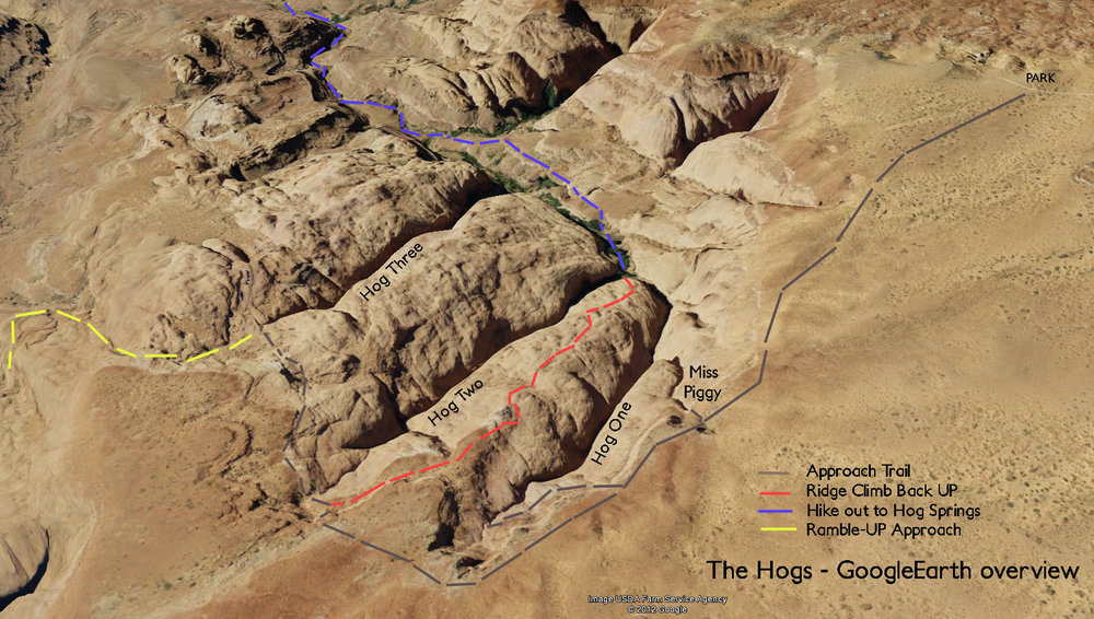 Hog Canyons - a Google Earth overview.