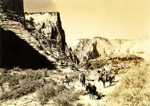 East Rim Horse Party - A crew traveling through Zion, circa 1929. Image via USGS Photo Archives.Photographer George A. Grant.