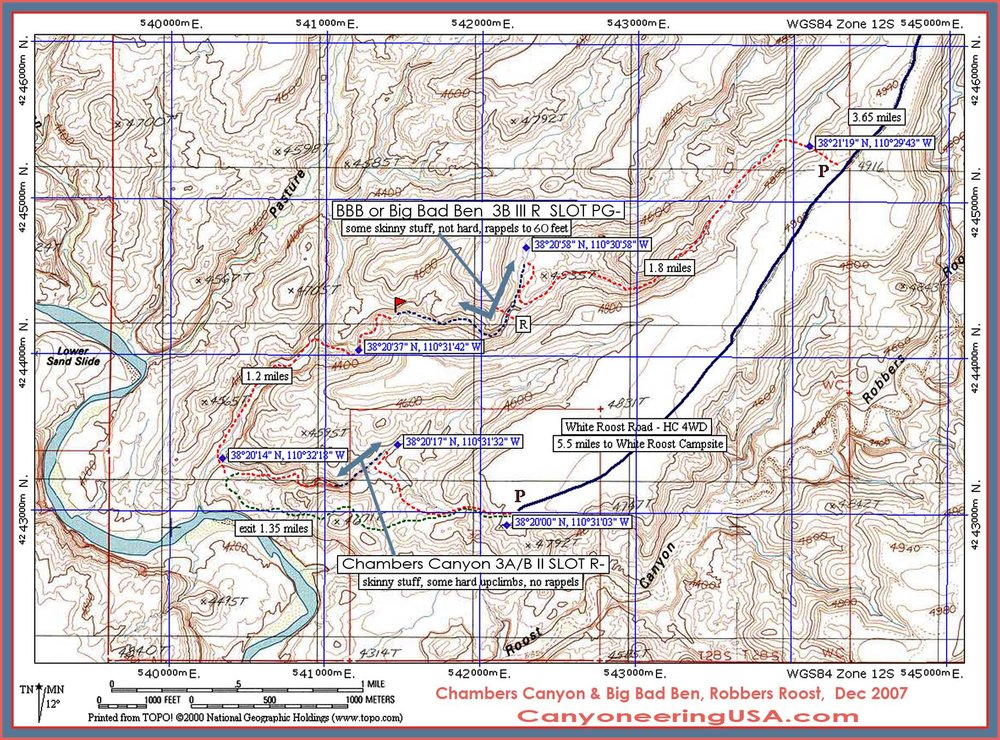 Chambers Canyon Map above. Chambers Canyon Driving Map at right.   Click for higher resolution