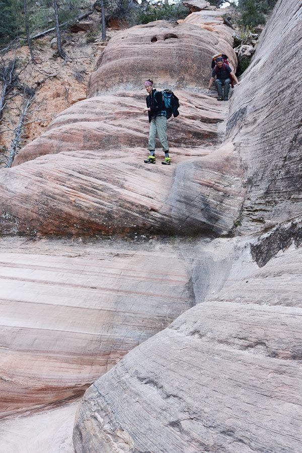 Fun downclimbing slickrock