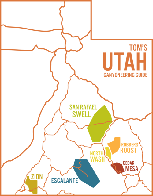 Major Utah canyoneering regions, including Zion, Escalante, North Wash, Cedar Mesa, and the San Rafael Swell.