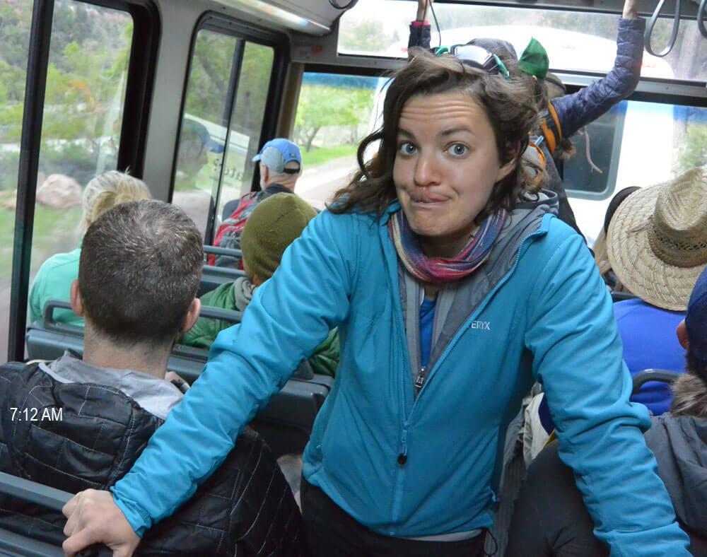 Rachel enjoying the SCENE on the early bus.