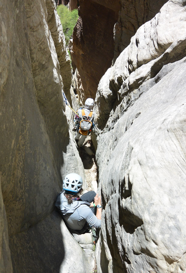 Downclimbing and rappelling