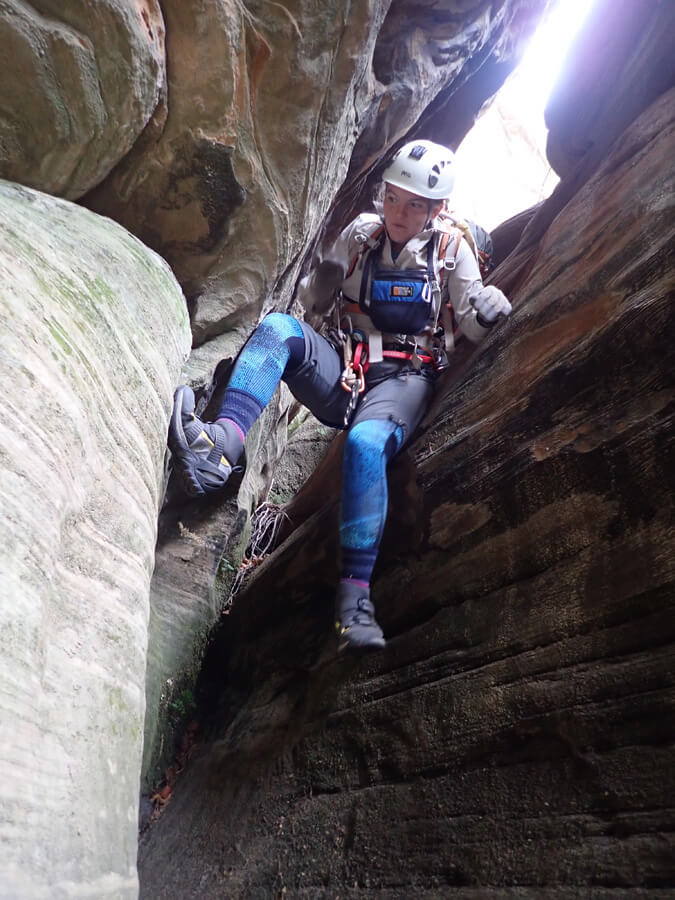 Cassy entering the canyon