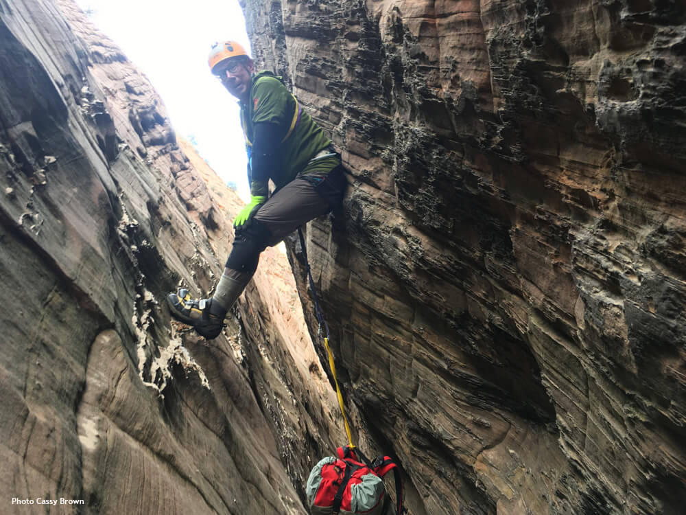 pulling first rappel