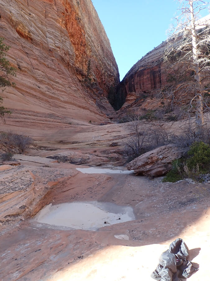 Looking back at the canyon from the bivy site.