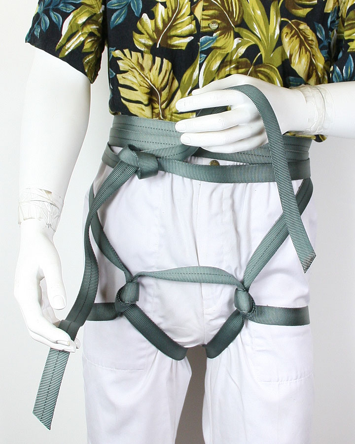 Wrap short end around and tie with water knot
