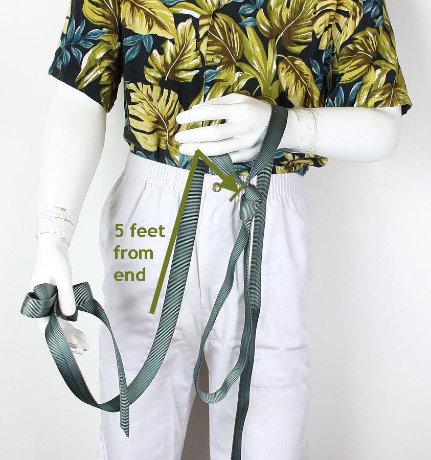 Tie one leg loop, five feet from one end