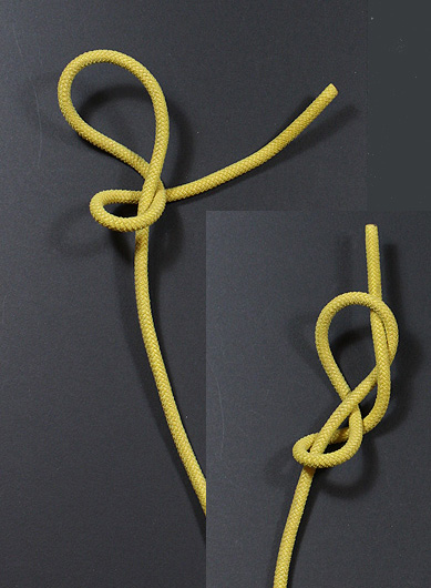 FIGURE NINE KNOT ON AN END - 3. If we take ANOTHER half-turn around the standing part, we get a Figure-of-Nine knot.Uses: Building block. Adding another half-turn produces a Figure-10, ... Figure-11, ... etc. - but usually a Figure-9 is sufficient to prod non-binding effect desired.