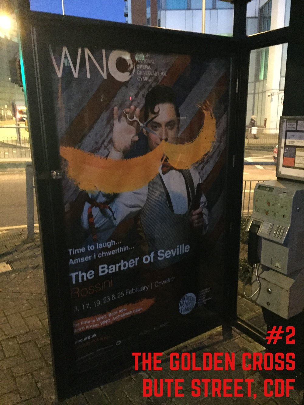 Barber of Seville poster spotted by the Golden Cross, Cardiff