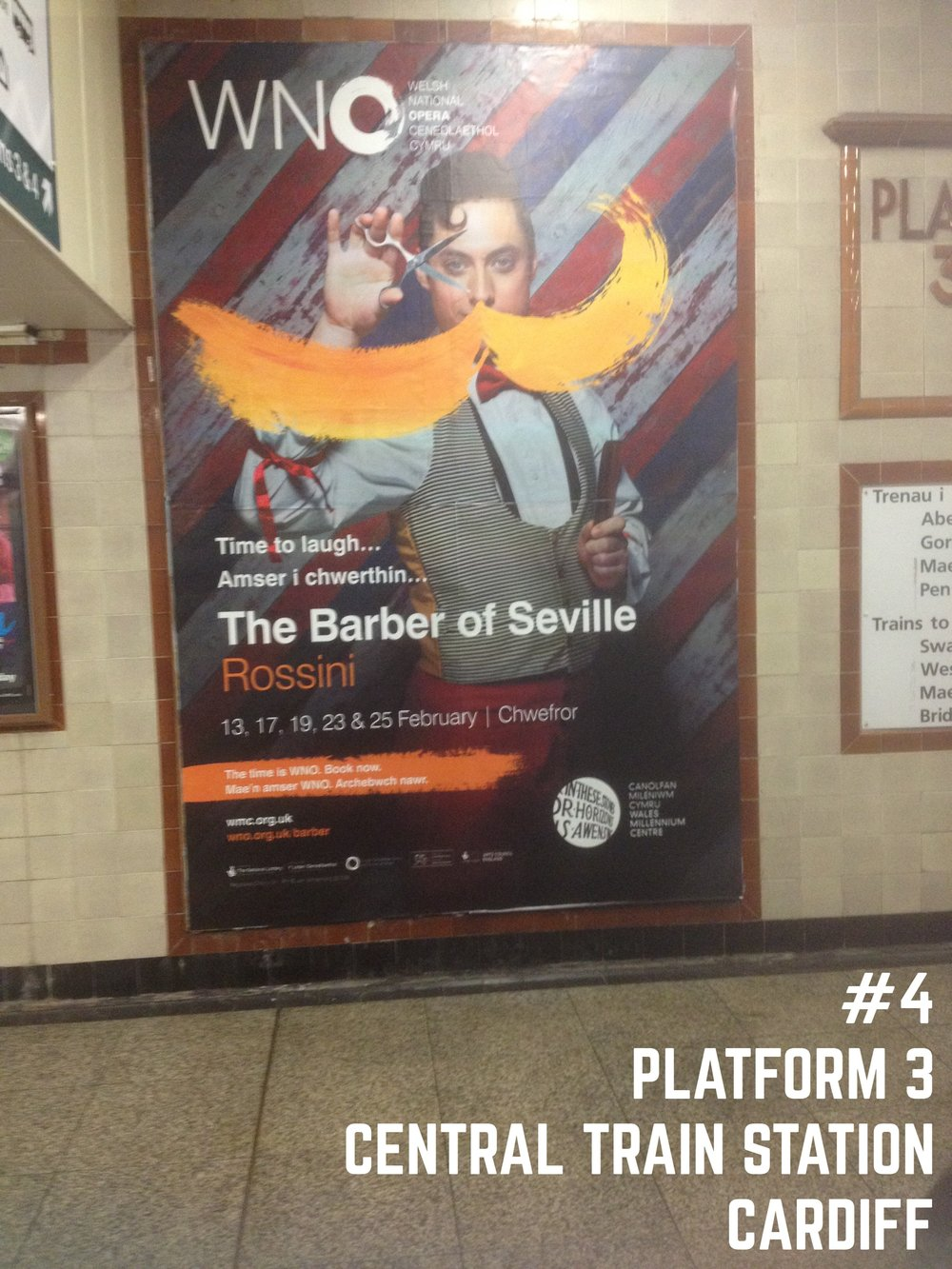 Barber of Seville poster spotted by platform 3, Cardiff Central train station