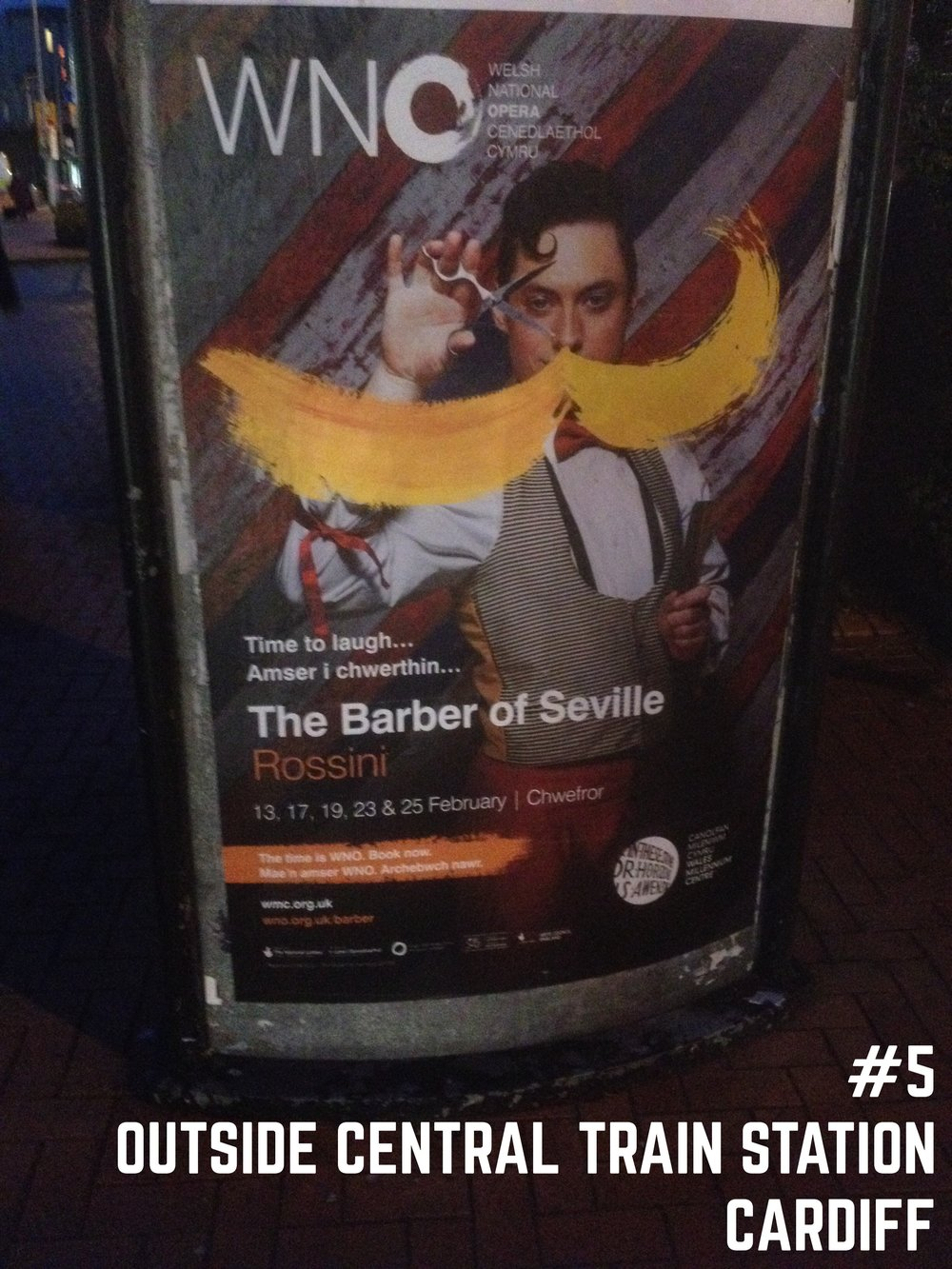 Barber of Seville poster spotted outside Cardiff Central train station
