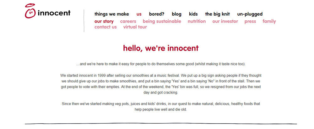 Burning Red Innocent Smoothie Drinks Content Marketing Strategy Example 1
