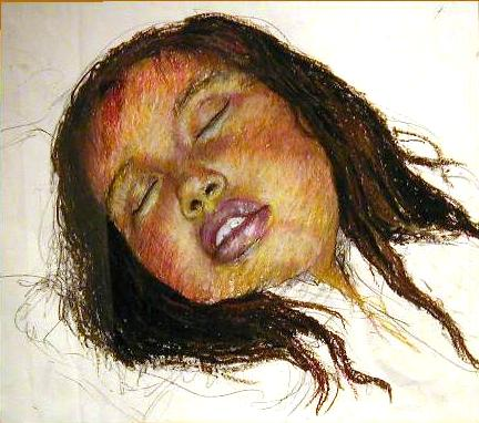 Anjelica Sleeping, oil pastel on paper