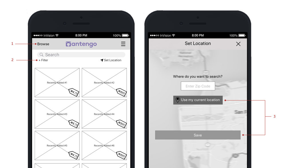 Wireframes by Michelle Chung