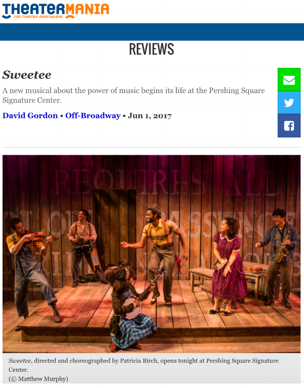 """Sweetee is about the undeniable power that music has to change people's lives! The show is a cheerfully optimistic piece that encourages audiences to dream big"" - David Gordon with Theatre Mania"